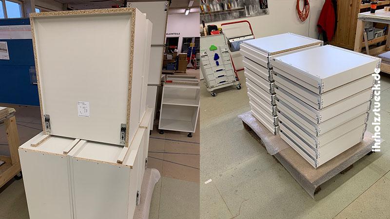 Die fertig vormontierten Hängeschränke und Schubladen - ihrholzstueck