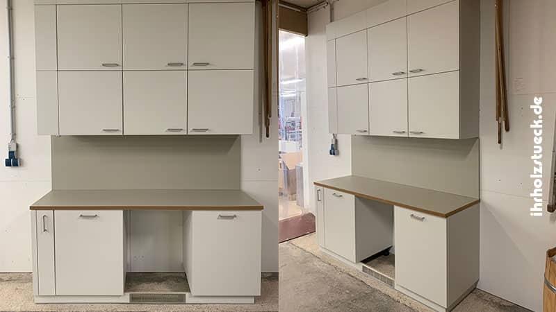 Die fertigen Küchenmuster im Aufbau mit Vorbereitung für 45er Geschirrspüler - ihrholzstueck