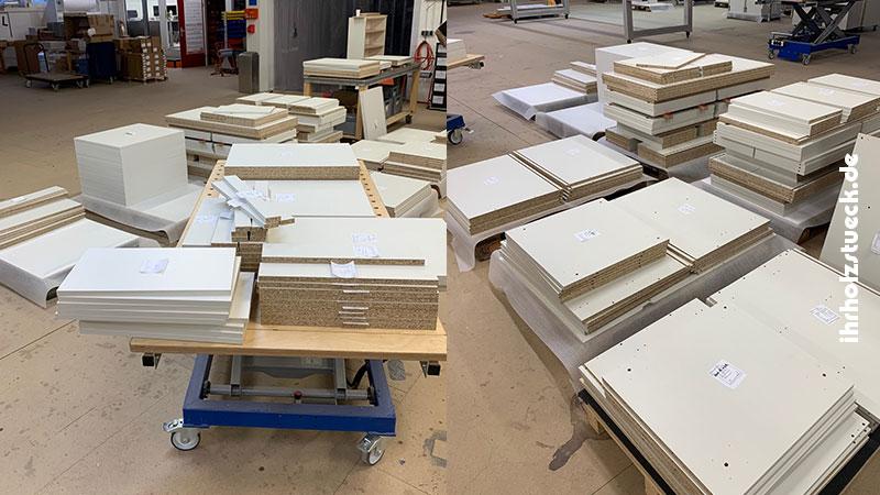 Einzelteile für die Küchenschränke und Einlegeböden - ihrholzstueck