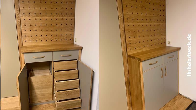 Unterschrank der Garderobe mit Auszügen und Schubladen - ihrholzstueck