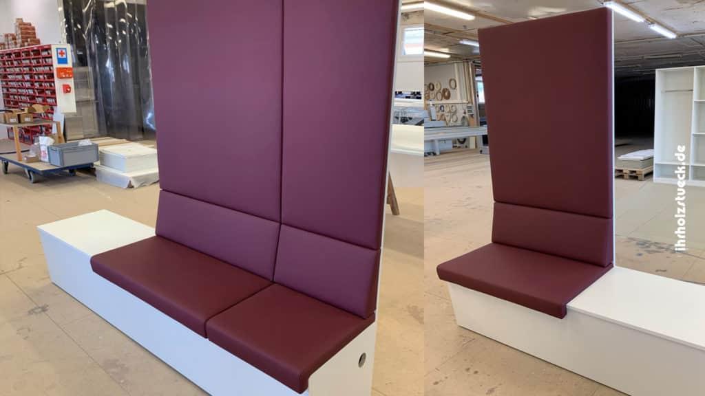 Beitragsbild - Bau von gepolsterterten Sitzbänken in verschiedenen Größen - ihrholzstueck