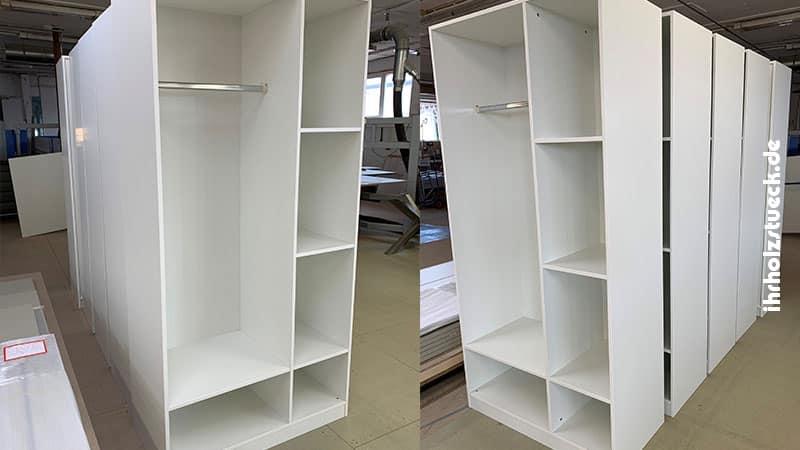Die ersten 5 Garderobenschränke sind fix und fertig montiert - ihrholzstueck