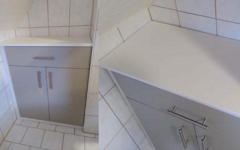 Badschrank nach Maß in Nische gebaut