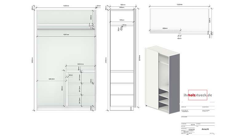 Die fertige Zeichnung für Ihren Schrank mit allem Maßen für die handwerkliche und maschinelle Fertigung
