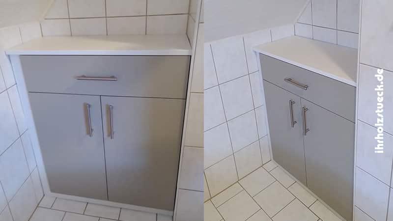 In eine kleine Nische wurde ein passgenauer Badschrank eingebaut